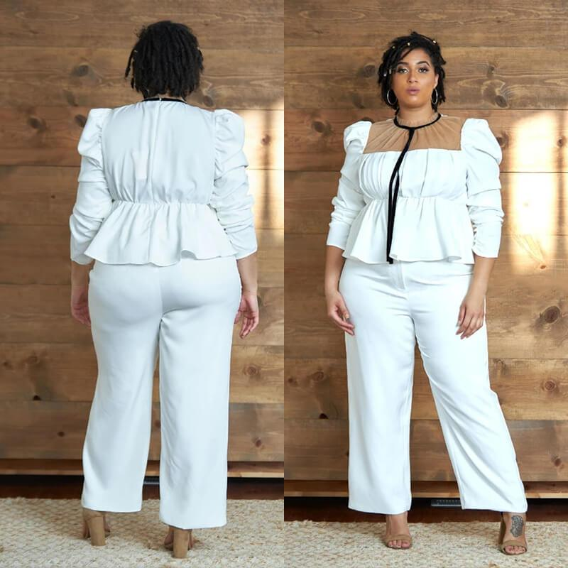 White Two Piece Set Plus Size - white colors