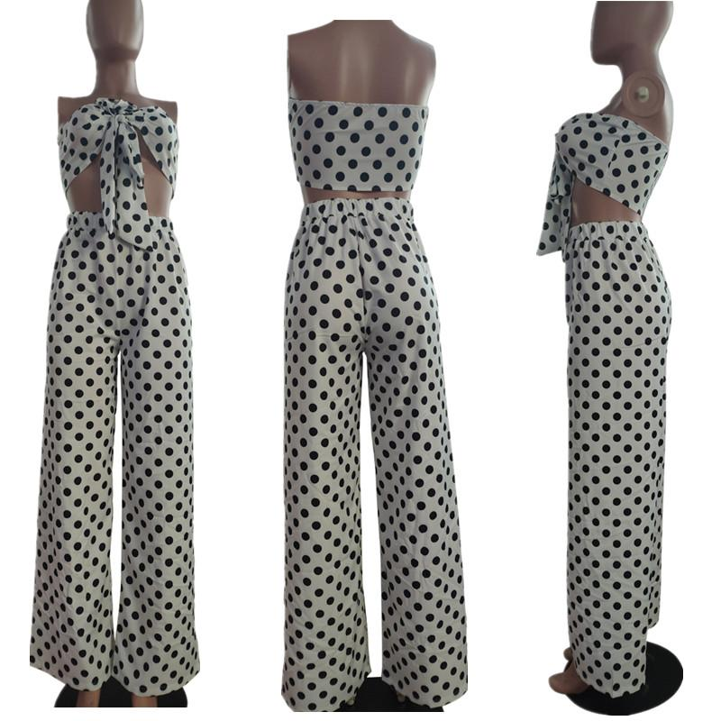 Women Dot Leopard Print V-neck 2 Piece Outfits