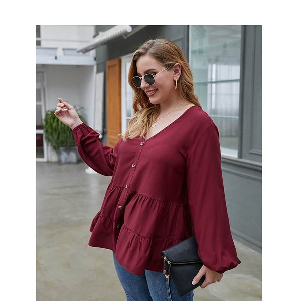 Women's Plus Size Red Blouse - wine red left