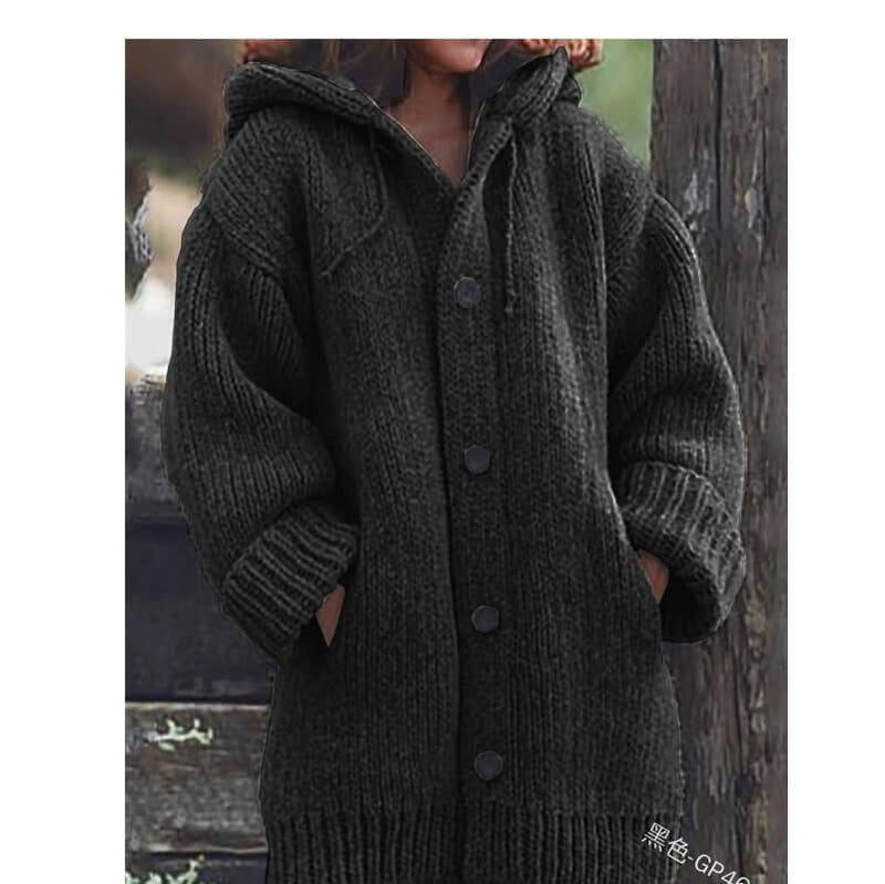 Plus Size Sweater Jackets - black color