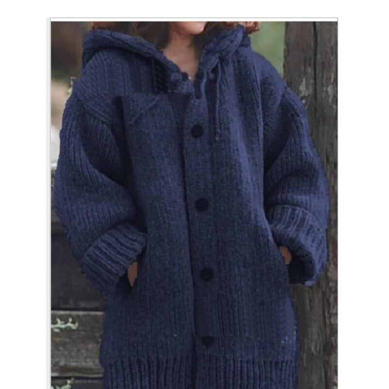 Plus Size Sweater Jackets - navy blue color