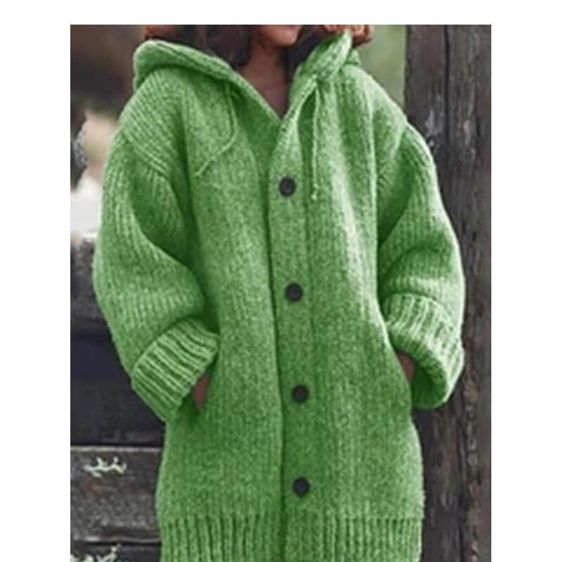 Plus Size Sweater Jackets - green color