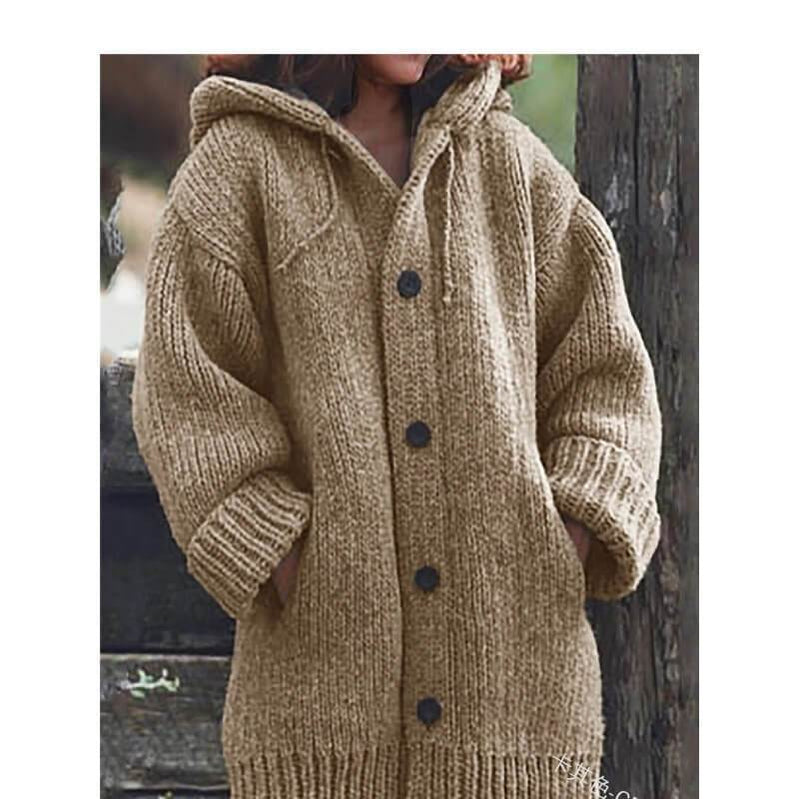 Plus Size Sweater Jackets - khaki color