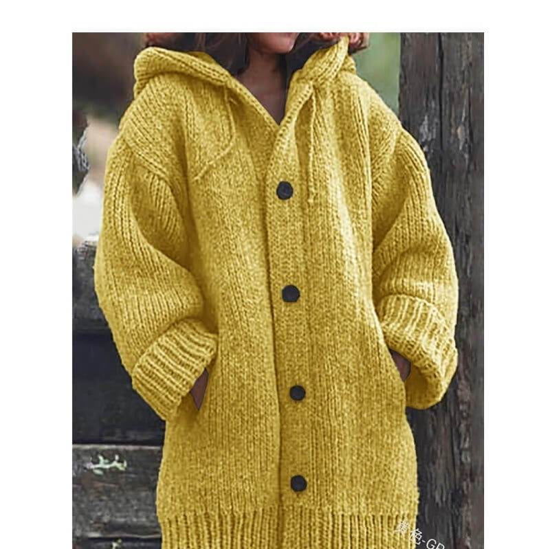 Plus Size Sweater Jackets - yellow color