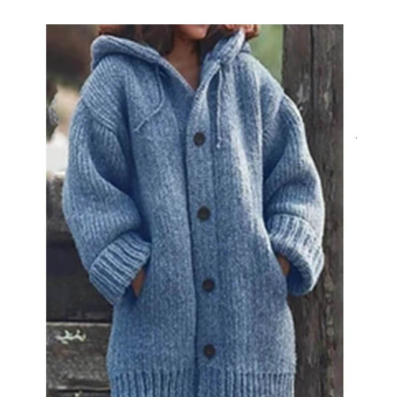 Plus Size Sweater Jackets - blue color