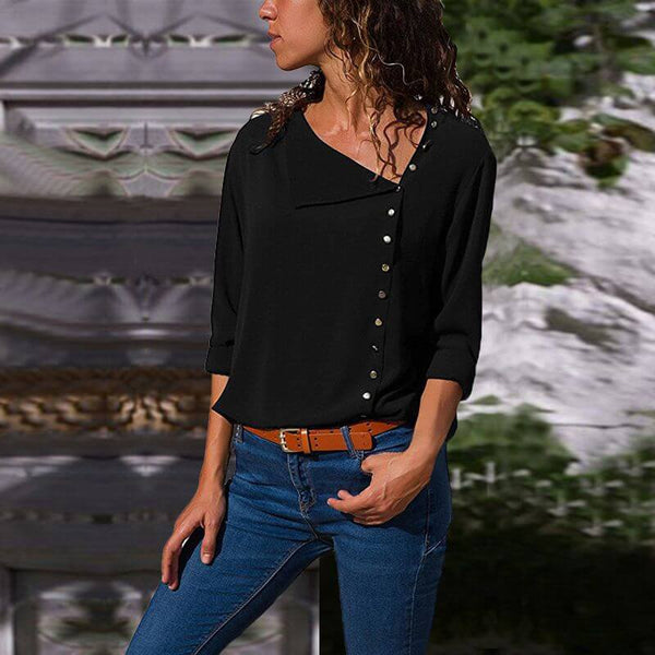 Womens Plus Size White Blouse - black color