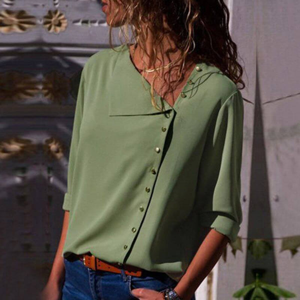 Womens Plus Size White Blouse - green color