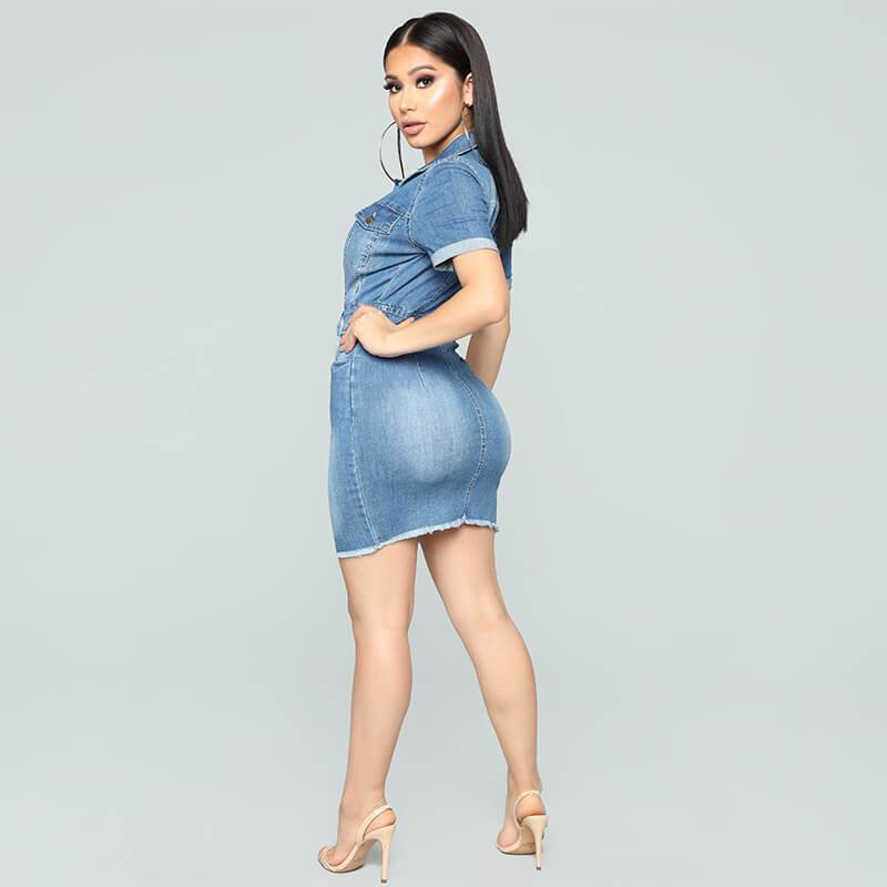 New Tight-fitting Hip Sexy Deep V Denim Dress