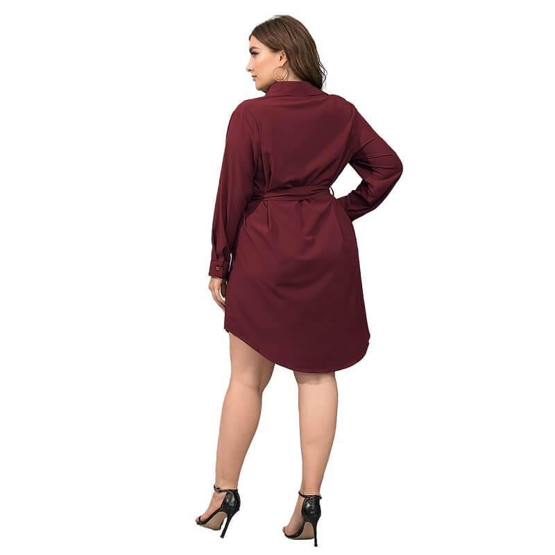 Plus Size Black Blouse - red back