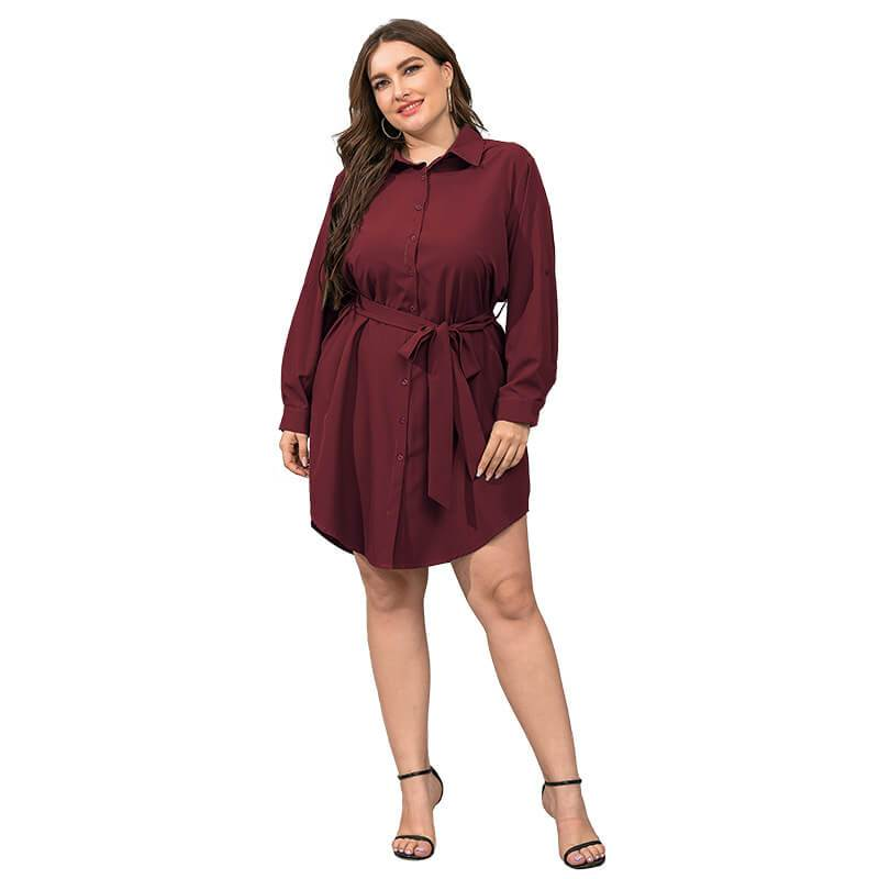 Plus Size Black Blouse - red color