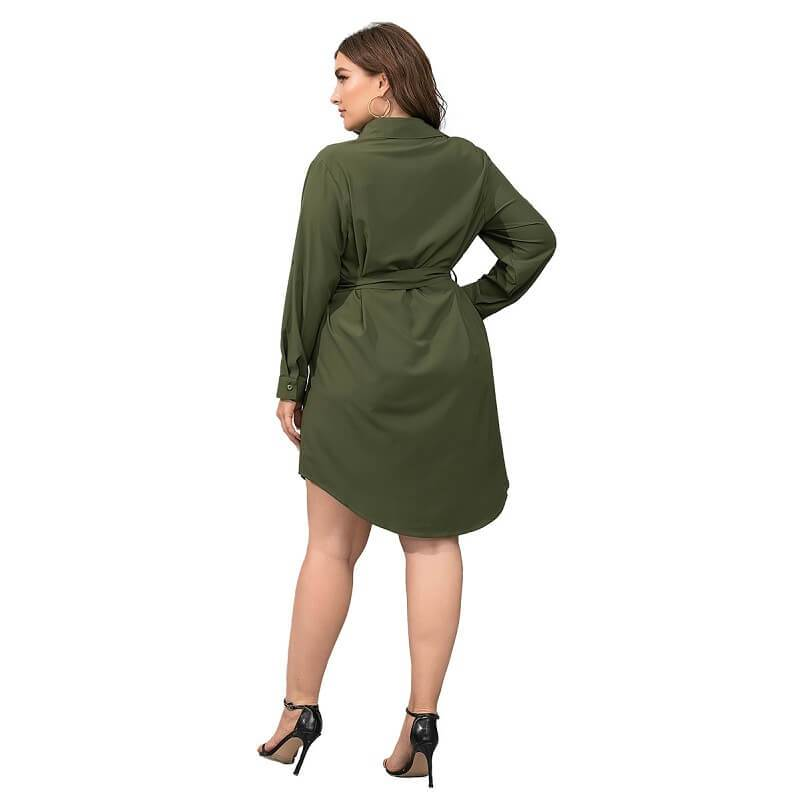 Plus Size Black Blouse - green back
