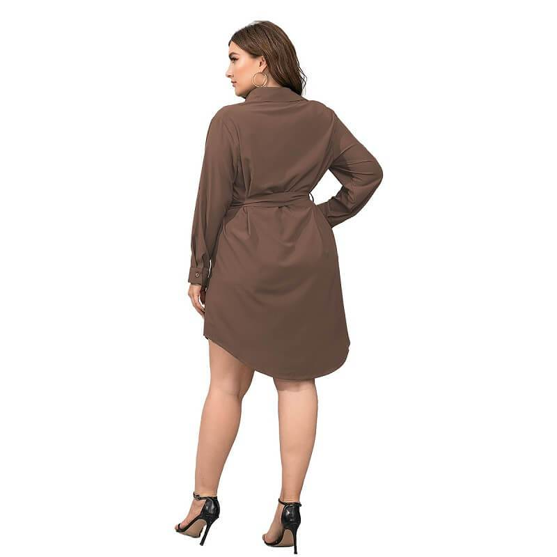 Plus Size Black Blouse - brown back
