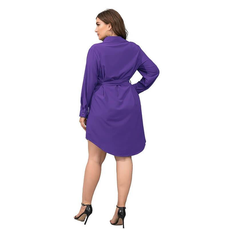 Plus Size Black Blouse - purple back