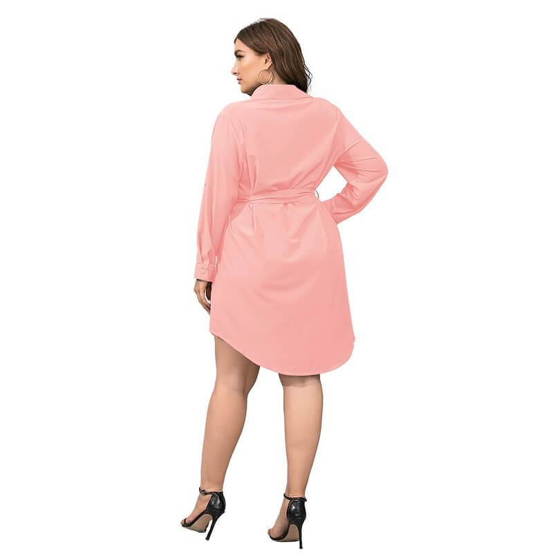 Plus Size Black Blouse - pink back