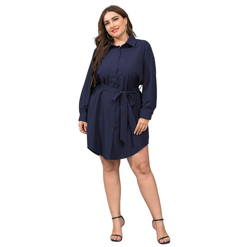 Plus Size Black Blouse - dark blue  color