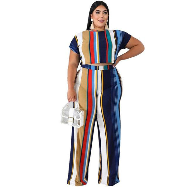 2 Piece Sets Womens Outfits Printed Stripes Plus Size