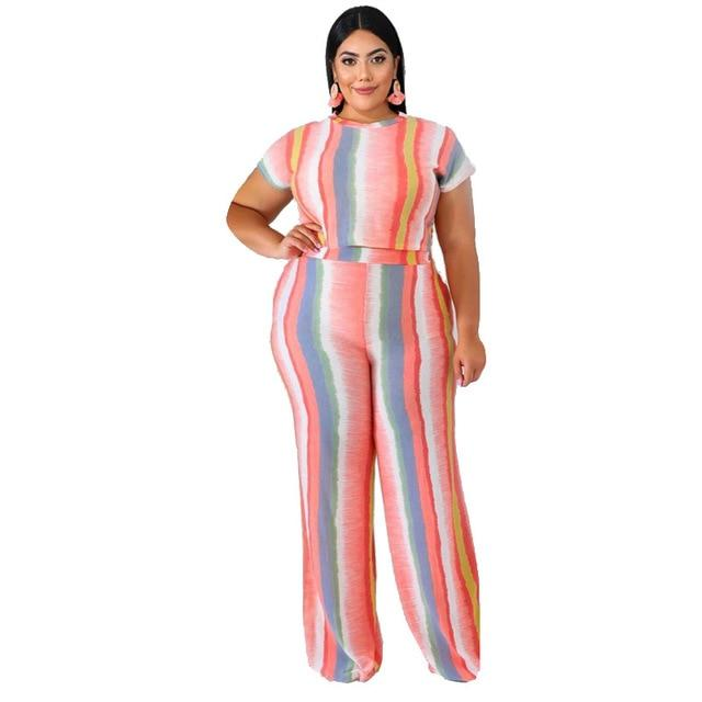 Plus Size Sets Womens Printed Stripes - pink color