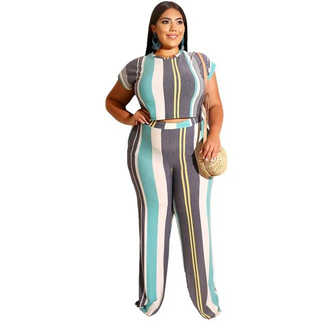 Plus Size Sets Womens Printed Stripes - sky color