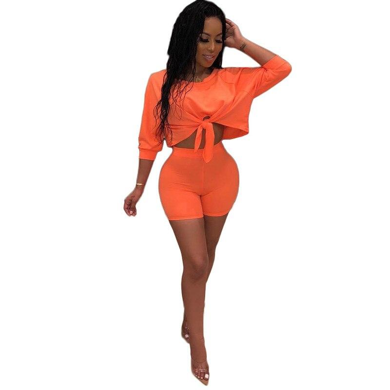 Solid Color 2 Piece Sets Outfits Top Hot Pant Plus Size