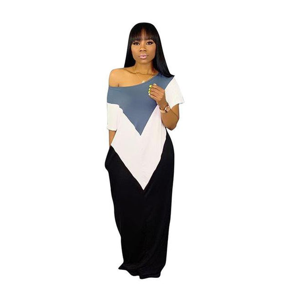 Plus Size One-shoulder Straight Patchwork Dress