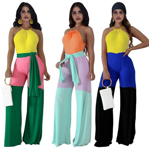 Patchwork Straight Type Casual Backless Halter Jumpsuit