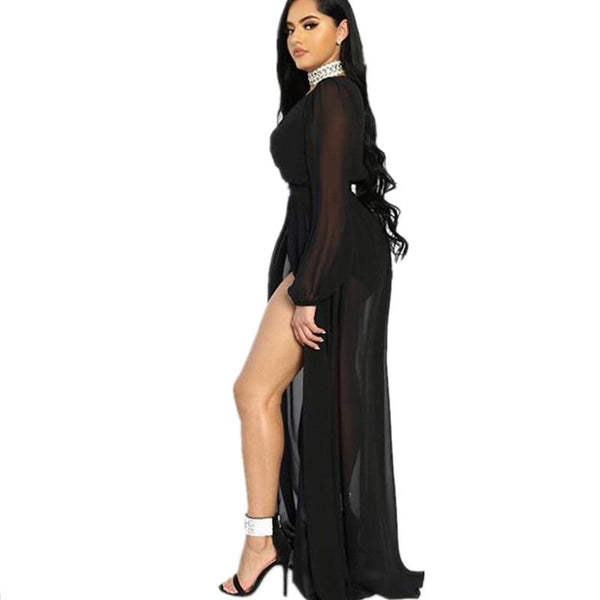 Black Maxi Dress With Slit- Left side view