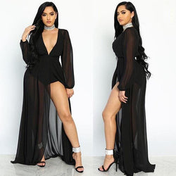 Deep V-neck Sexy Perspective Mesh Chiffon Dress