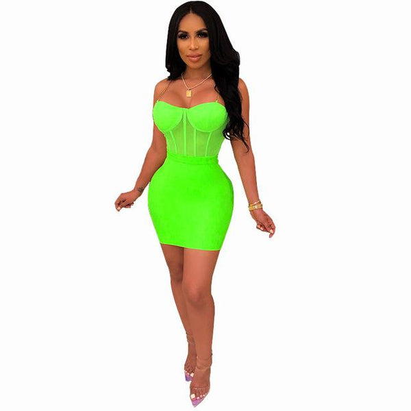 Bodycon Dress Bag Hips Mesh Perspective