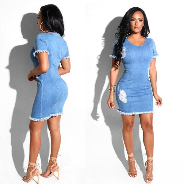 Women Denim Worn Hole Pencil Dress