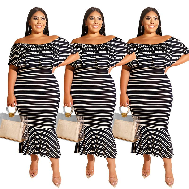 Plus Size Summer Womens Fashion Off-the Shoulder Dresses