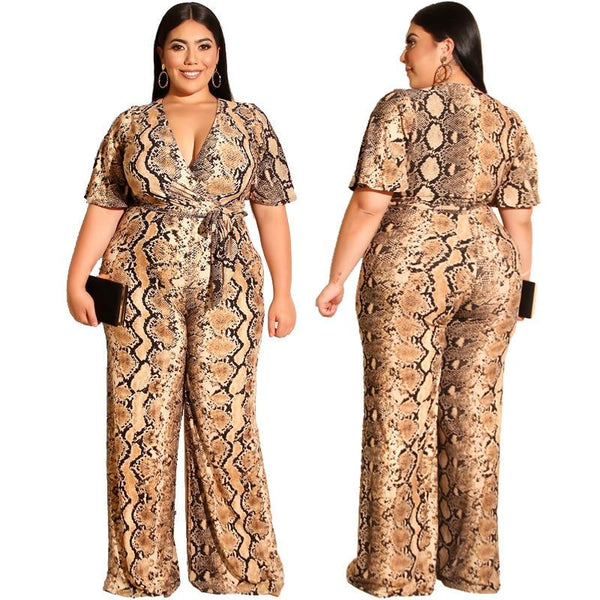 Casual Style Straight Jumpsuit with Belt Plus Size