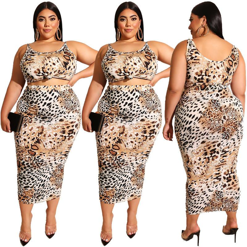 Plus Size Two Piece Outfits Leopard Pattern
