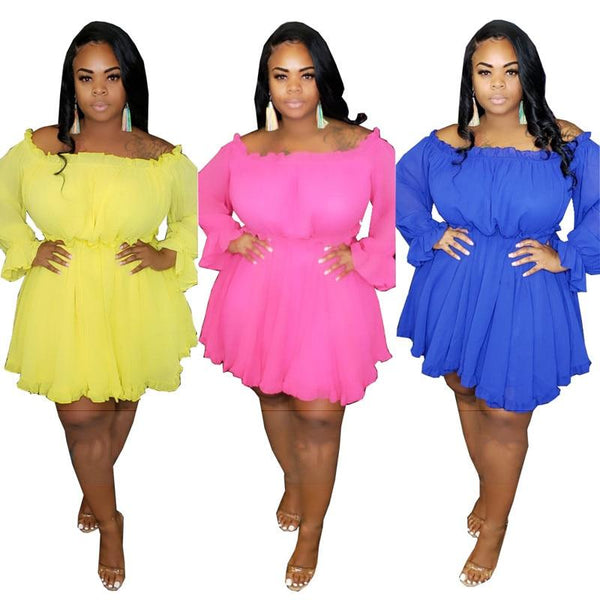 Plus Size Dress Long Petal Sleeve Slash