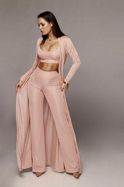 Long Sleeve 3 Piece Sets - pink color