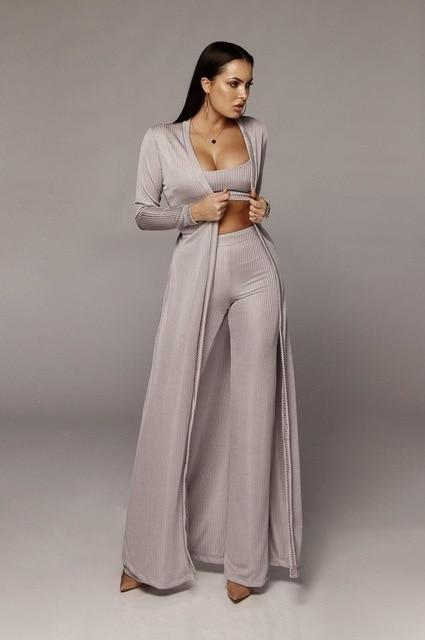 Long Sleeve 3 Piece Sets - grey color