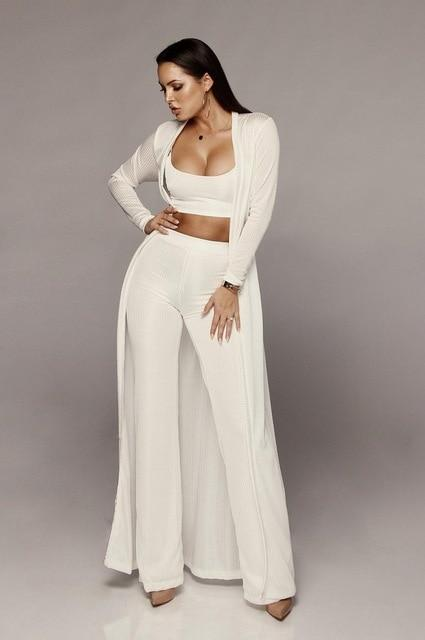 Long Sleeve 3 Piece Sets - white color