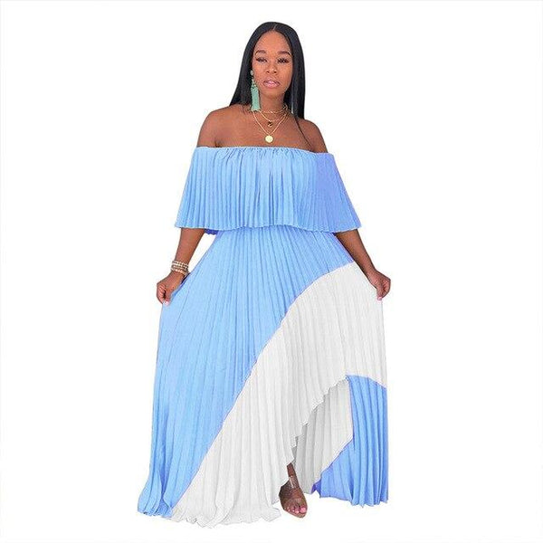 Smocked Off The Shoulder Maxi Dress  - blue Color