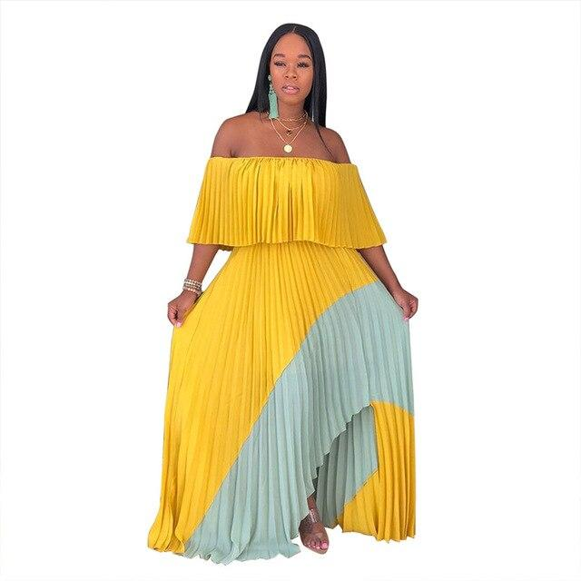 Smocked Off The Shoulder Maxi Dress  - Yellow Color