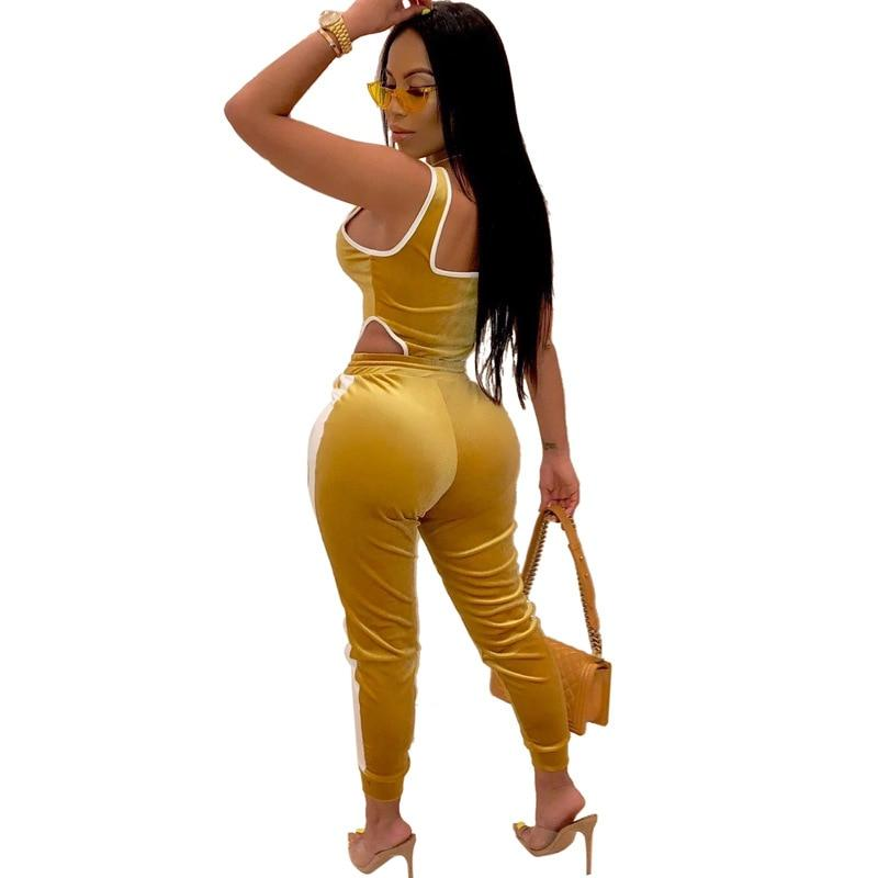 Six Color Two Piece Set Plus Size - yellow back