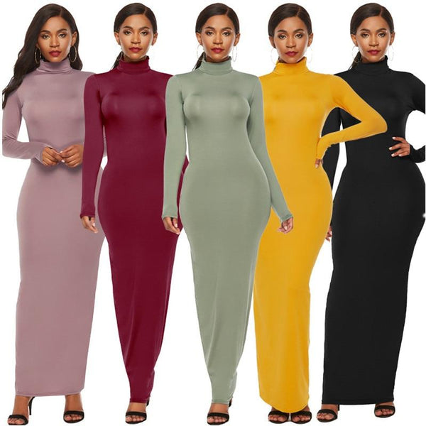 Long Sleeve Women's Tight Fitting Dress Plus Size