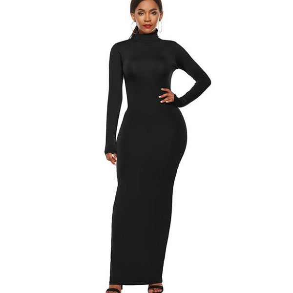 Plus Size Long Sleeve Women's Tight Fitting Dress