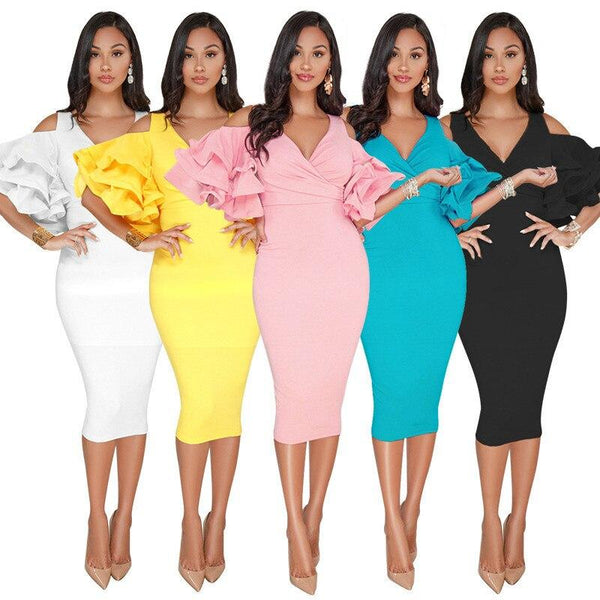 Bodycon Dress Office Lady Ruffled