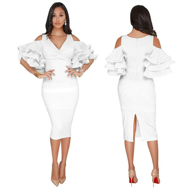 Bodycon Dress Office Lady Ruffled Plus Size