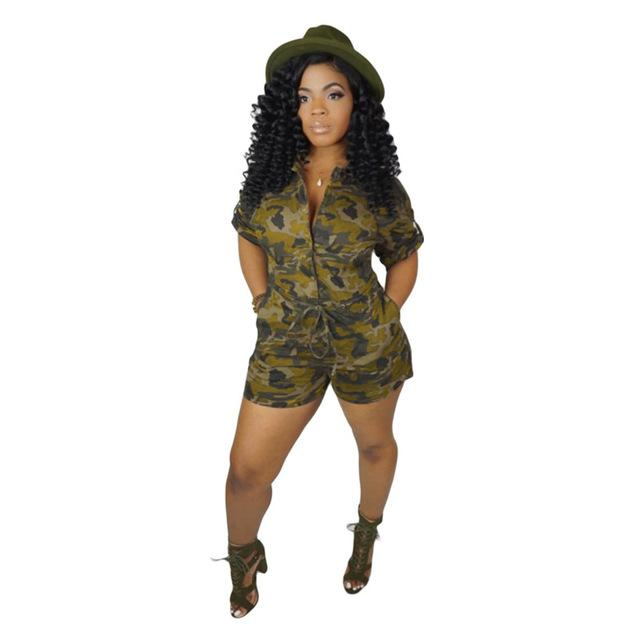 Camouflage Single-breasted Jumpsuit