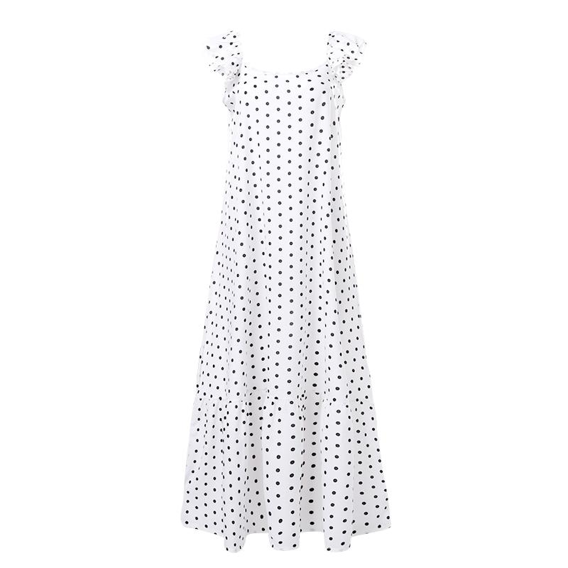 Black And White Polka Dot Maxi Dress - back view