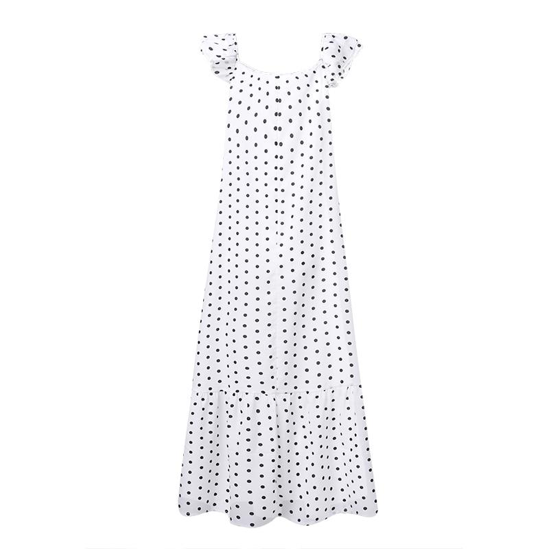 Black And White Polka Dot Maxi Dress - front view