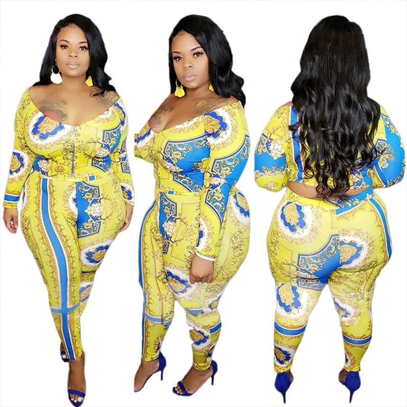 Plus Size Women Two Piece Outfits V Neck Long Sleeve