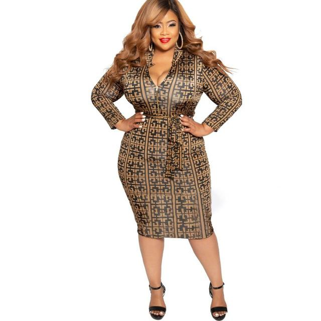 Cheap Plus Size Dresses - brown color