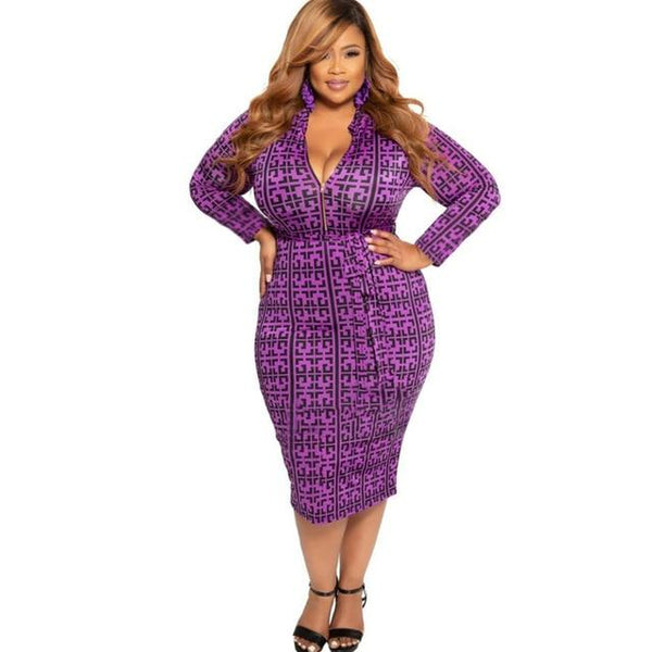Cheap Plus Size Dresses - purple color