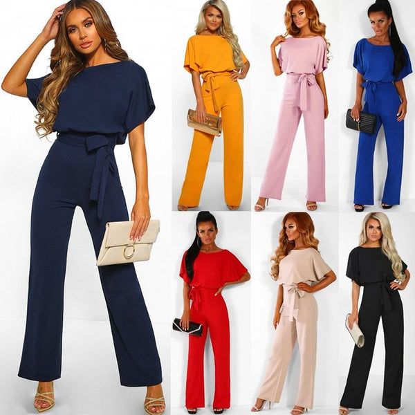 Plus Size Short Sleeve Elegant Long Wide Leg  jumpsuit